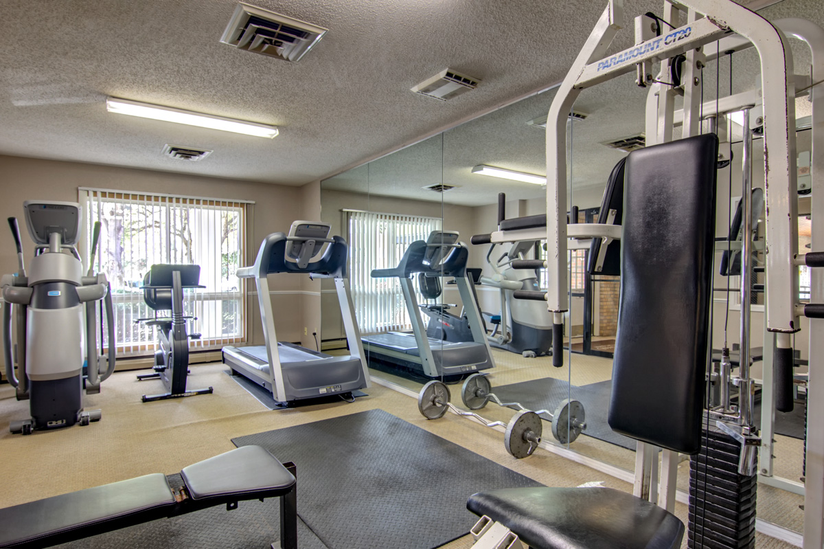 Indoor gym with various exercise equipment