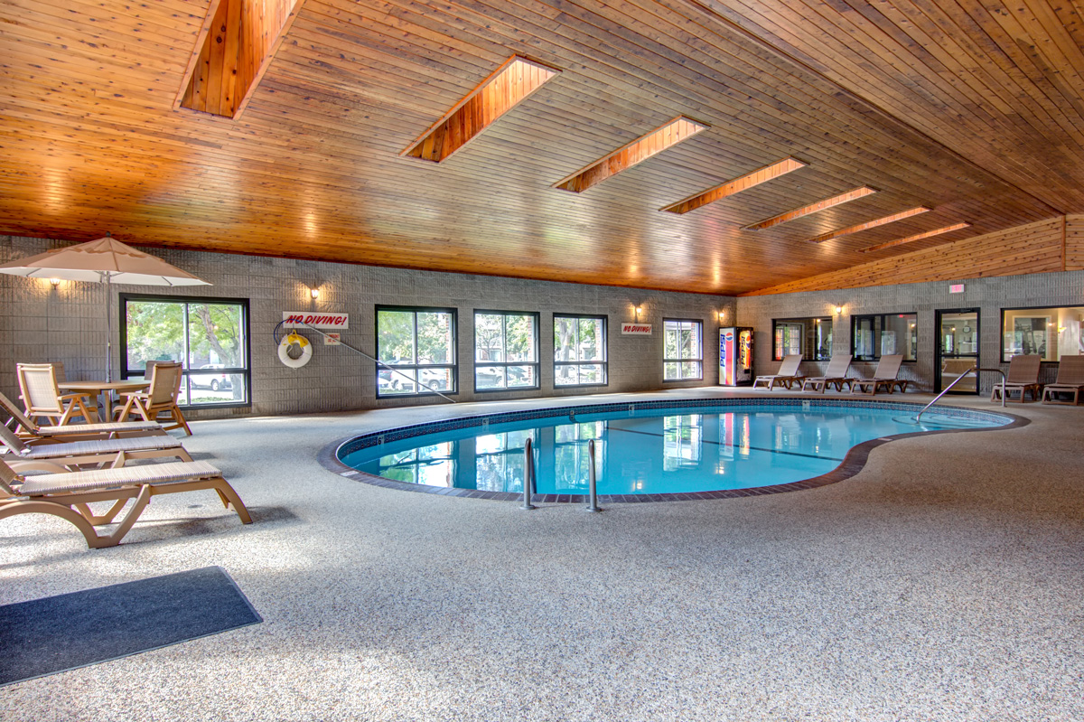 Large indoor pool with skylights above