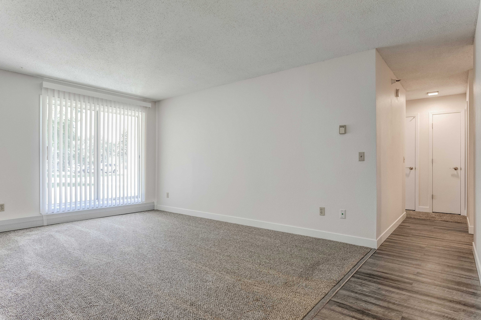 Carriage Oaks living room view with brand new carpet and hardwood flooring.